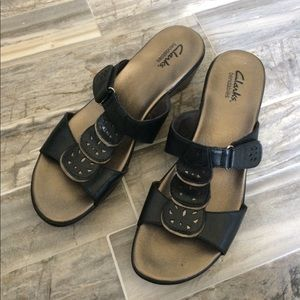 Black and Bronze Leather Clarks Sandals